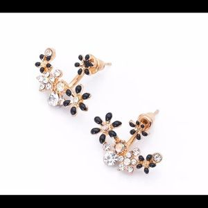 Gold and black behind the lobe earrings